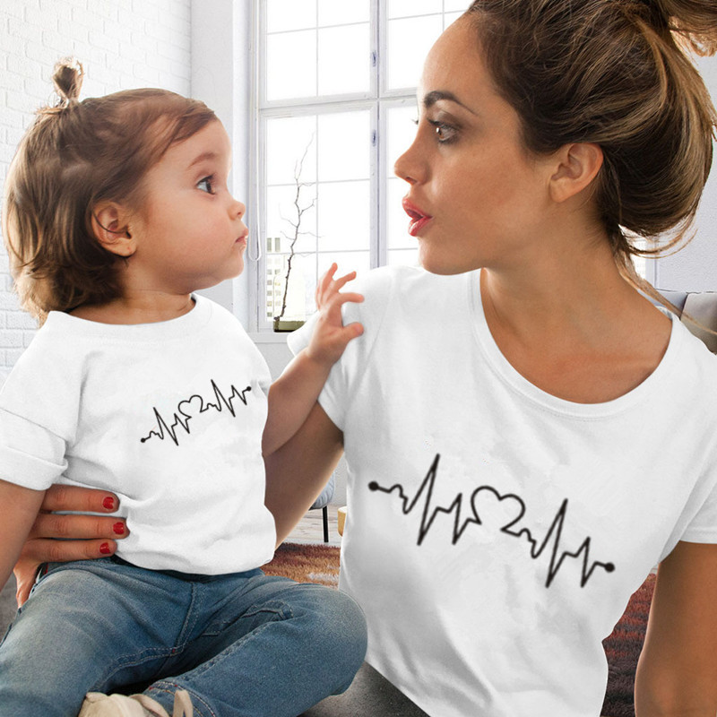 Funny Family Look Mother And Daughter Clothes Family Matching Clothes Electrocardiogra Print T-shirt QT-1931