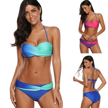 Bikini Set Two-Piece Swimsuits New Style Strapless Bra Halter Lace-up Gradient Ribbon Padded Wire Free sexy style strapless pink fringe women s bikini set