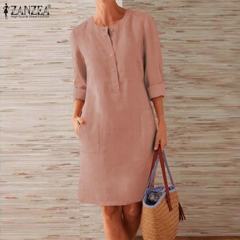 2019 Plus Size ZANZEA Autumn Shirts Dress Women Casual Solid Long Sleeve Elegant Work Cotton Short Sundress Vestidos Female Robe