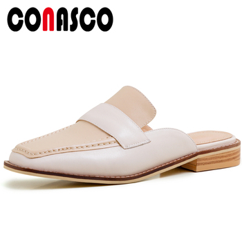 CONASCO Genuine Leather Women Sandals Mules Slippers Pumps Summer Concise Casual Mixed Colors Flat With Low Heels Shoes Woman