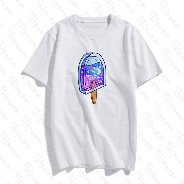 Crème glacée et lait boîte T-shirt femmes Harajuku Style coréen Kawaii Vintage esthétique grande taille coton à manches courtes vêtements t-shirts