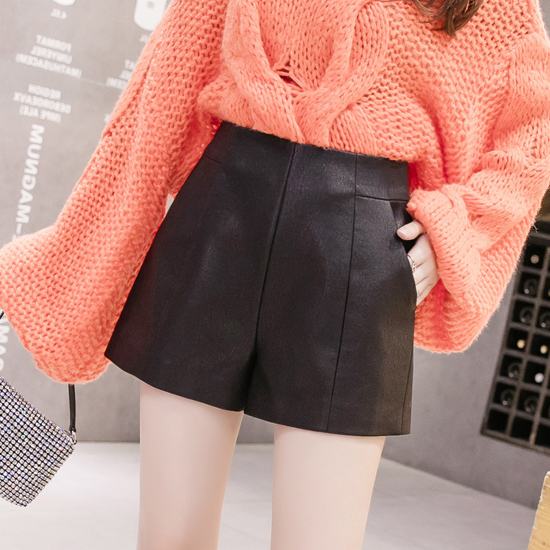 High Waist Pu Leather Shorts Womens 2019 New Fashion Thin Black Wide Leg Shorts Womens For Autumn Winter Casual