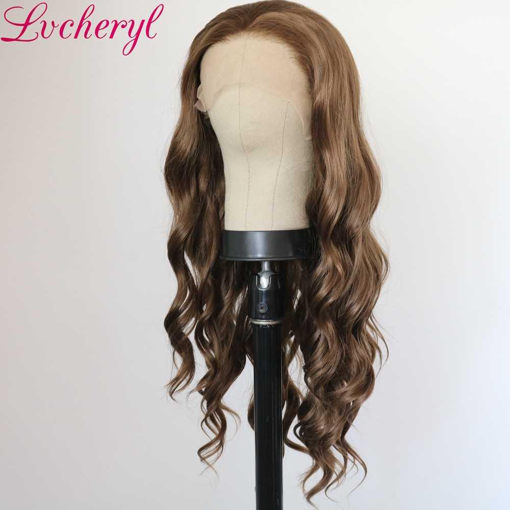 Lvcheryl 13X3 długie brązowe kolor naturalna fala włosy z włókna wysokowytrzymałego peruki żaroodporne syntetyczna koronka przodu peruki