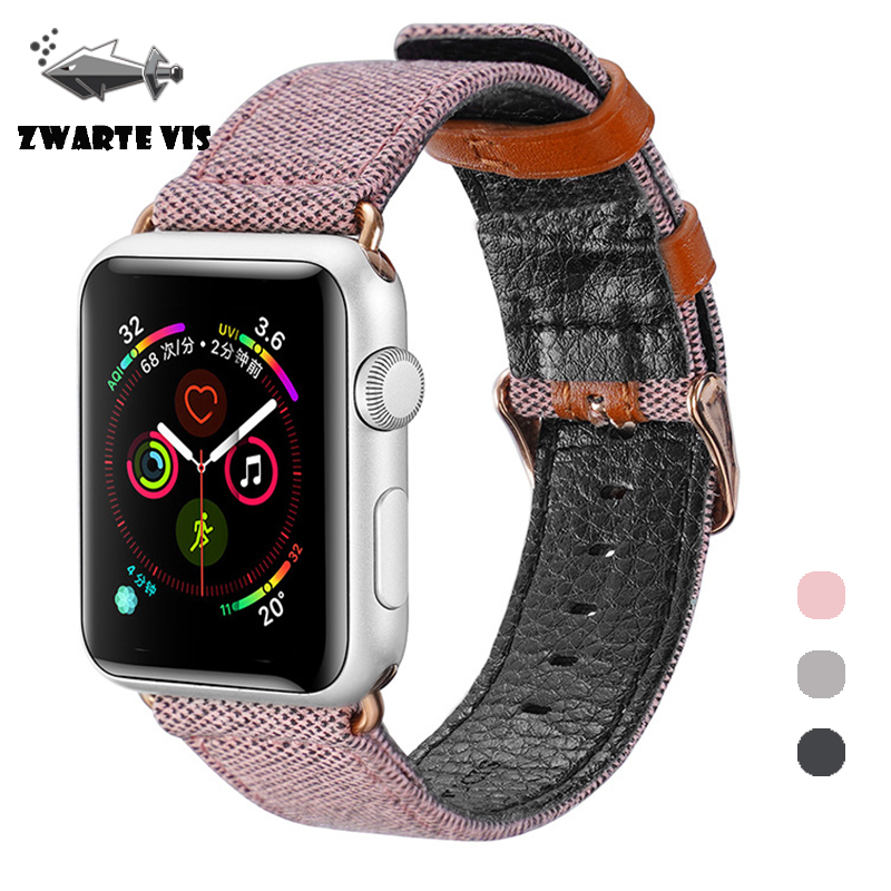 PU Leather Watch Strap For Apple Watch Series 4 cloth Leisure Watchbands for Apple Watchseries 4/3/2 38mm 40mm 42mm 44mm Fabric image