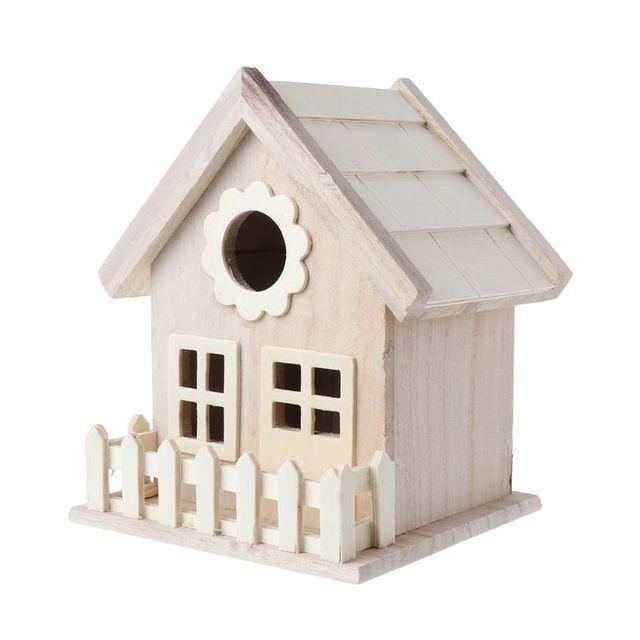 Creative Wooden Bird House Breeding Cage Box Feeding Nest Garden Backyard Balcony Pendant Simulation Fence Birdhouse Home Decora 2