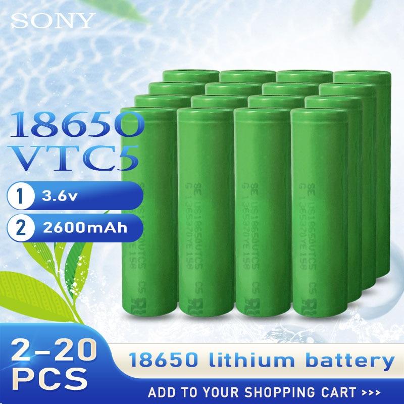 Batería recargable de litio para Sony pila de descarga de alto drenaje 30A para linterna de 2-20 uds, 2020 100%, Original, 3,6 v, 18650 VTC5, 2600mah