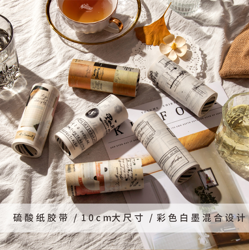 6PCS/LOT Writing Style And Language Series Fresh Lovely Decorative Sulfuric Acid Paper Tape