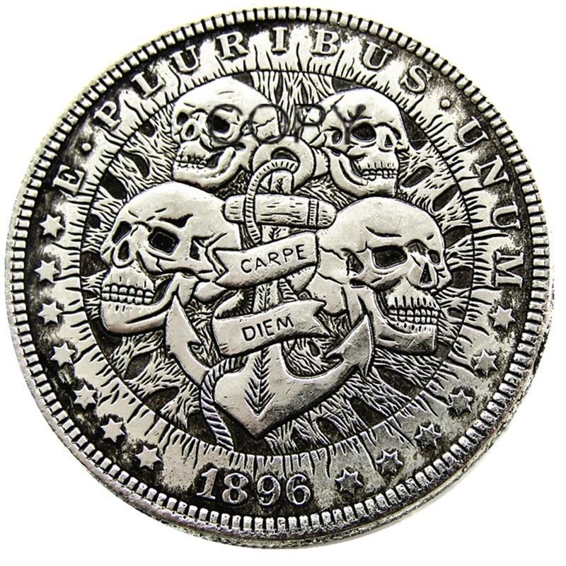 Скелетоны с черепом Моргана, США 1896, с серебряным покрытием, копировальные монеты