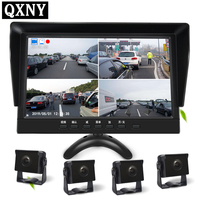 10.1inch IPS 4CH Video input Car Video Monitor For Front Rear Side View Camera Quad Split Screen Recording images simultaneously
