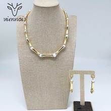 Viennois Dubai Jewelry Set for Women Bamboo Design Gold Plated Necklace and Dangle Earrings Jewelry Set Fashion Jewelry Set