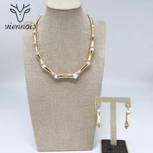 Viennois Dubai Sieraden Set Voor Vrouwen Bamboe Ontwerp Vergulde Ketting En Dangle Oorbellen Sieraden Set Mode sieraden Set