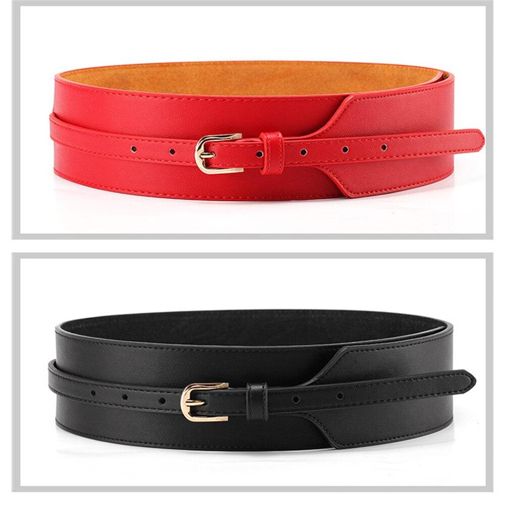 New Women Dress Belt Fashion Coat Leather Belt For Girls Metal Pin Buckle Cowhide Leather Women Belts Mid-waisted Wide Belt