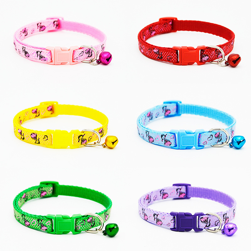 1.0 Little Girl Applique Bell Neck Ring Pet Cat Dog Collar Excellent Cai Kou
