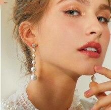 цены 2019 New S925 Silver Needle Creative Earrings Female Imitation Pearl Stud Earrings Simple Fringe Earrings Jewelry Long Pearl