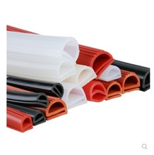 Silicone E Type Strip Red White E Shape Silicone Stirp Door Oven Freezer Door Oven Steaming Machine VMQ E Sealing Bar
