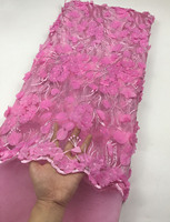 2019 Latest Style African Lace Fabric Pink Tulle Lace Fabric With Sequins High Quality African Nigerian Wedding Fabric
