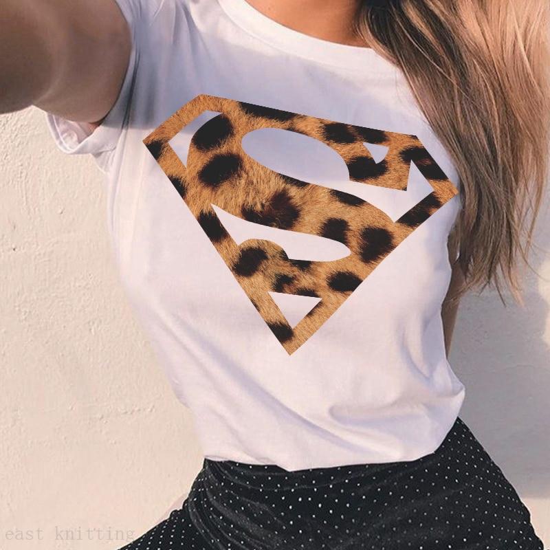 Plus Size Women T-Shirt 2020 Summer Leopard Heart Print T Shirt Women Casual White Tops Loose Short Sleeve Tshirt Camisas Mujer 2