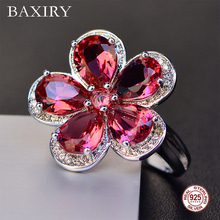 Trendy Luxury Ruby Ring Gemstones Natural For Jewelry Silver Blue Topaz 925 Sterling Engagement Rings Women