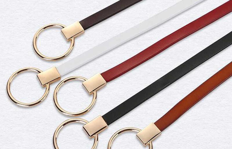 新しいファッション女性革ベルト牛の皮ベルトジーンズ白、赤、黒キャメルブラウン色最高品質の女性ストラップ W079
