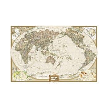 Dünya haritası 150x100cm su geçirmez dünya fiziksel haritası vinil sprey duvar olmadan ulusal bayrak ev zanaat ofis dekorasyon
