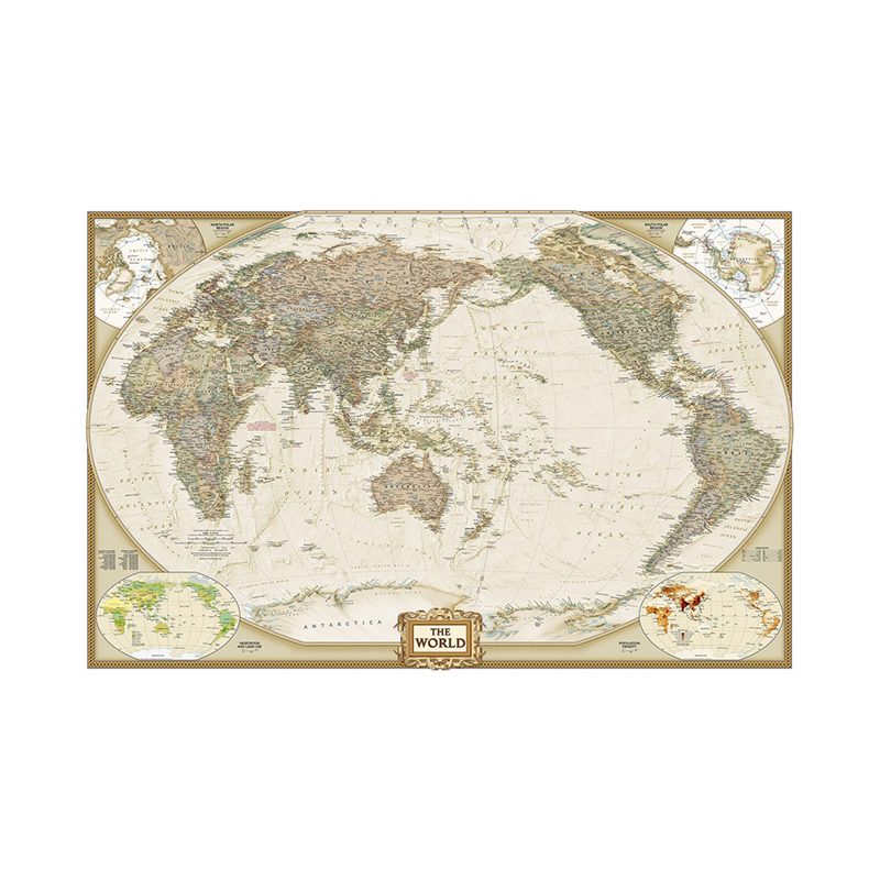 World Map 150x100cm Waterproof World Physical Map Vinyl Spray Wall Map Without National Flag For Home Craft Office Decoration