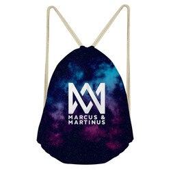 Thikin marcus e martinus drawstring saco crianças mochilas para adolescente meninas pequenos sacos de armazenamento diário mochila