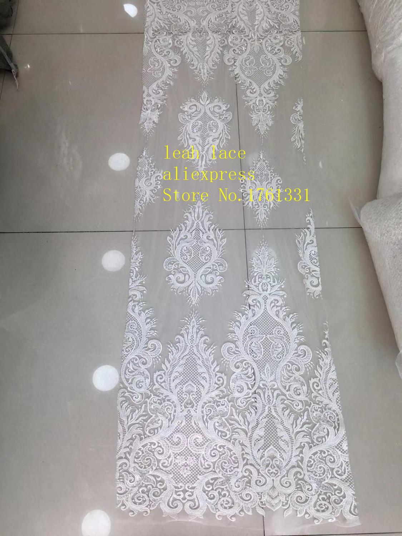 5 yards/sac blanc broderie paillettes bricolage perles style euraméricain tissus de luxe utilisés dans la conception de la robe de mariée FH23 #
