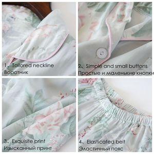Image 5 - Julysong s canção feminina algodão pijamas conjunto floral impresso 2 peças sleepwear simples macio mangas compridas feminino outono inverno homewear