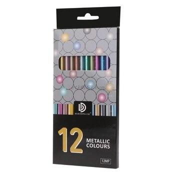 12 Uds lápices de colores de dibujo metálicos no tóxicos 12 colores lápiz de dibujo