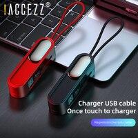 ! Accezz 3 em 1 cabo usb magnético portátil para iphone 11 6s 7 absorção de iluminação micro carregamento para huawei xiaomi viagem fio