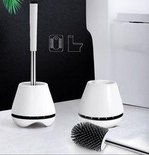 Escova macia flexível das cerdas da escova do toalete com suporte de secagem rápida para o acessório do banheiro em pé punho longo do agregado familiar macio