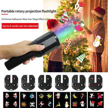 купить LED Halloween Projector Lights Handheld Indoor Kids Projection Flashlight 6 Patterns Show Halloween Christmas Birthday Party по цене 1211.44 рублей