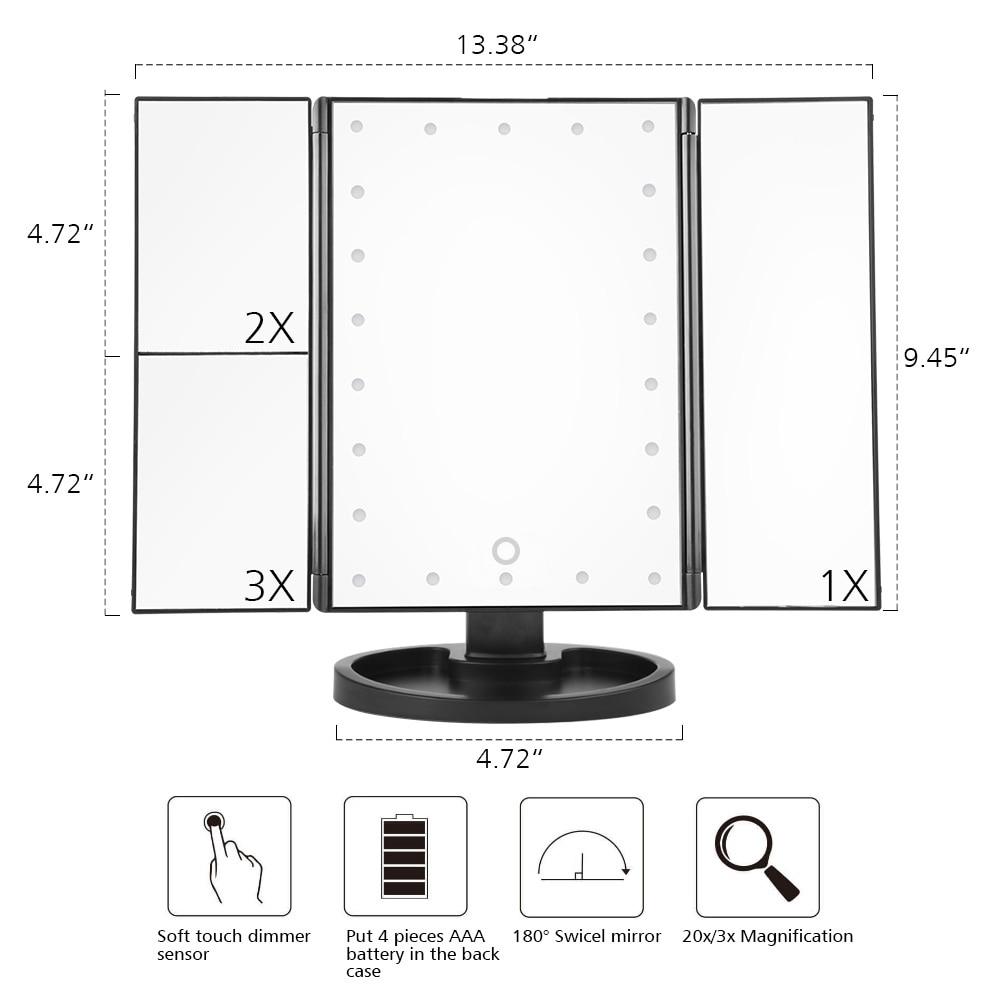 LED Touch Screen 22 Light Makeup Mirror Table Desktop Makeup 1X/2X/3X/10X Magnifying Mirrors Vanity 3 Folding Adjustable Mirror 1