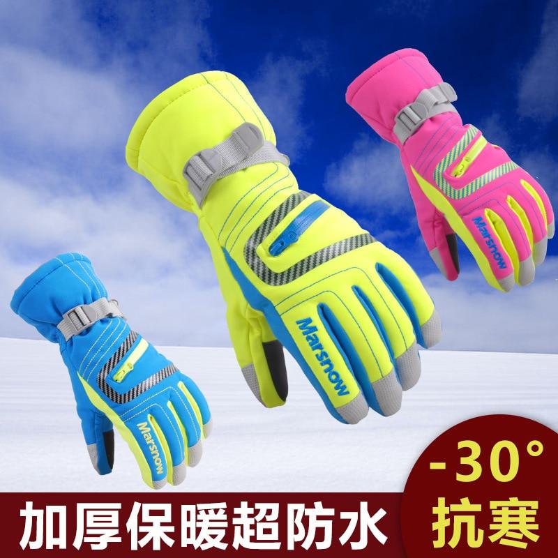 Зимняя флисовая подкладка; Очень теплые; Перчатки Спорт на открытом воздухе лыжный снегоходы водонепроницаемые и ветрозащитные модели, кот...