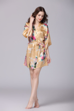 YAO TING hot style silk-like pajamas for ladies summer comfortabe mid-sleeve peacock  large size home wear
