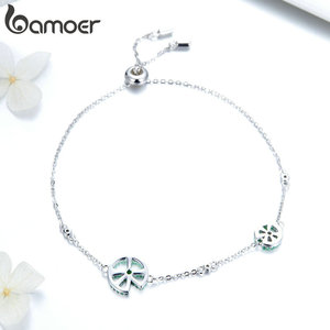 Image 2 - bamoer Funny Lotus Leaf Bracelet for Women Exquisite Design Sterling Silver 925 Jewelry Engagement Jewelry Gifts BSB006