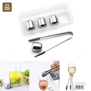 Image 1 - New Youpin Circle Joy Ice cube Reusable 304 Stainless Steel Washable Chilling Cool Ice Mold for Whiskey Wine Corks fruit juice