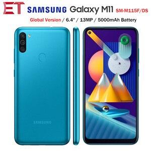 Глобальная версия Samsung Galaxy M11 M115F/DS 4G мобильный телефон 6,4 дюйма Две sim-карты 3 ГБ 32 ГБ Восьмиядерный 5000 мАч 3 камеры Android10 смартфон