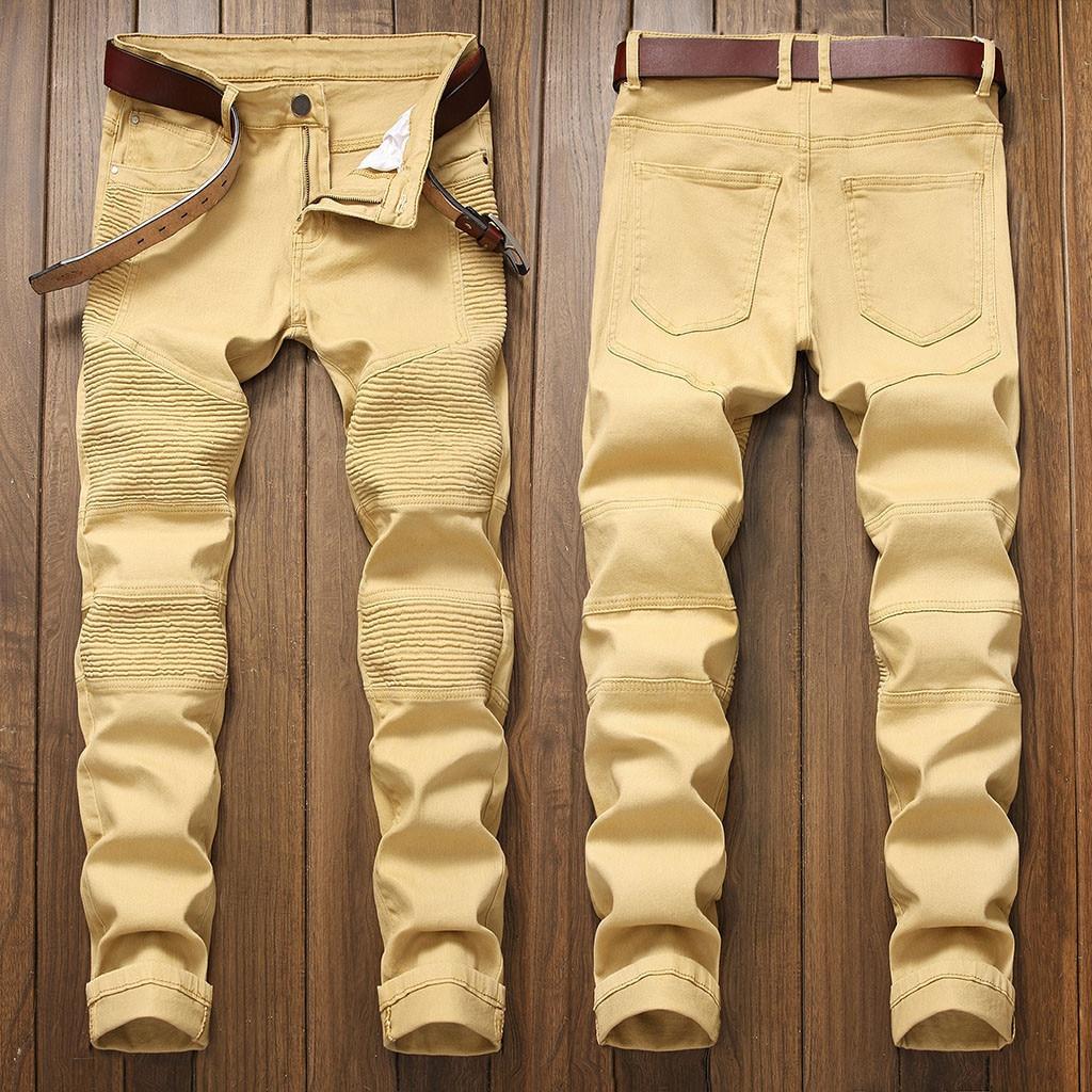 HOT Men's New Fashion  Personality Ripped Slim Fit Zipper Stretch Denim Mens Jeans Big Sizes Denim Mens Jeans  Jeans 2019