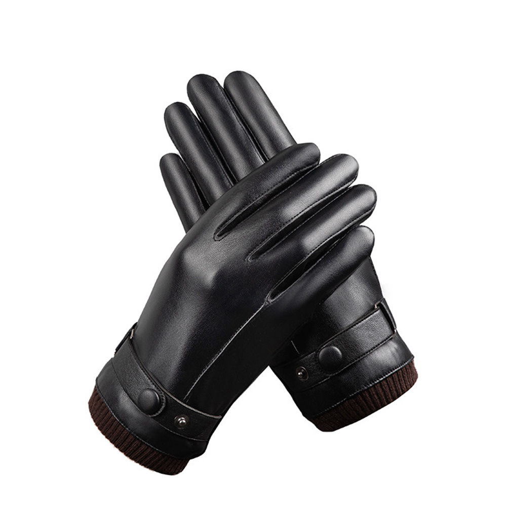Anti Slip Winter Skiing Gloves Thermal Cycling Keep Warm PU Leather Fashion Outdoor Riding Cold Weather Mittens Full Finger