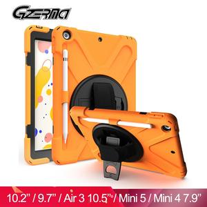 Shockproof Cover For iPad 10.2'' 9.7'' Air 3 2019 Case For iPad Mini 5 Mini 4 7.9'' With Pencil Holder Silicone Case For iPad(China)