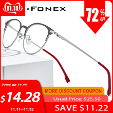 FONEX Prescription Eyeglasses Screwless-Eyewear Ultralight Round Retro Vintage Women