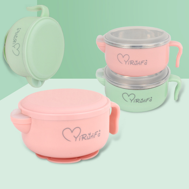 Cartoon Baby Food Set Stainless Steel Bowl Plate Newborn Children Feeding Training Bowl Children's Tableware Ecological Dishes