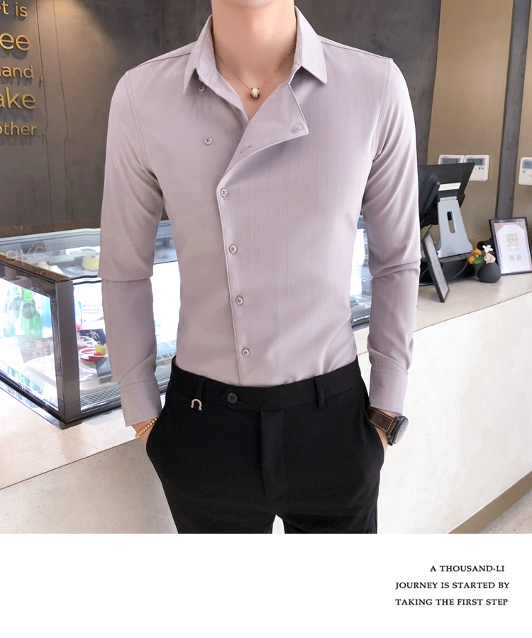 H480cb3d86f7a4ccab249b0c07b880469g Solid Color Shirt Dress Brand New Slim Fit Men Shirt Solid Long Sleeve Shirts Men Camisa Masculina Tuxedo Clothes