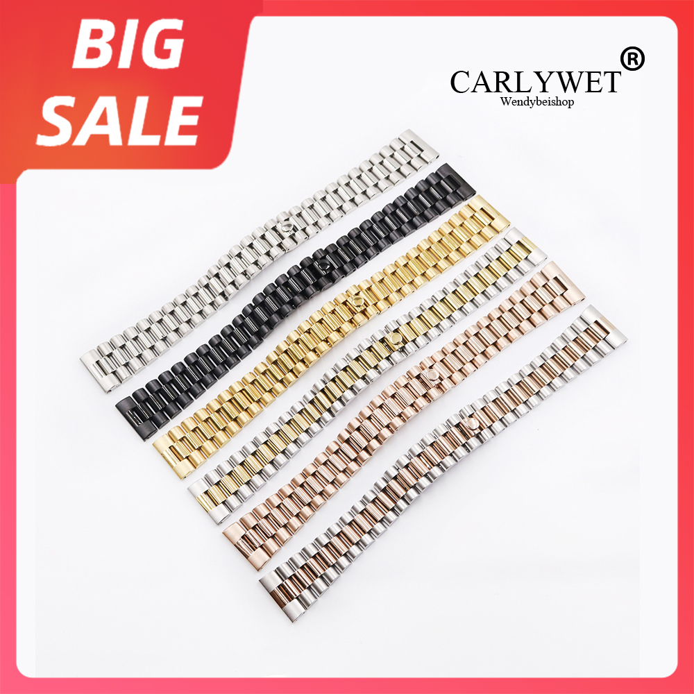 CARLYWET 20 22mm Gold 316L Steel Solid Straight End Screw Links Replacement Wrist Watch Band Bracelet For Rolex President Seiko