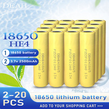 2-20PCS 2020 For LG HE4 2500mah 100% New Original 3.7v 18650 Lithium Rechargeable Battery 20A Discharge Max 35A For Cigarette