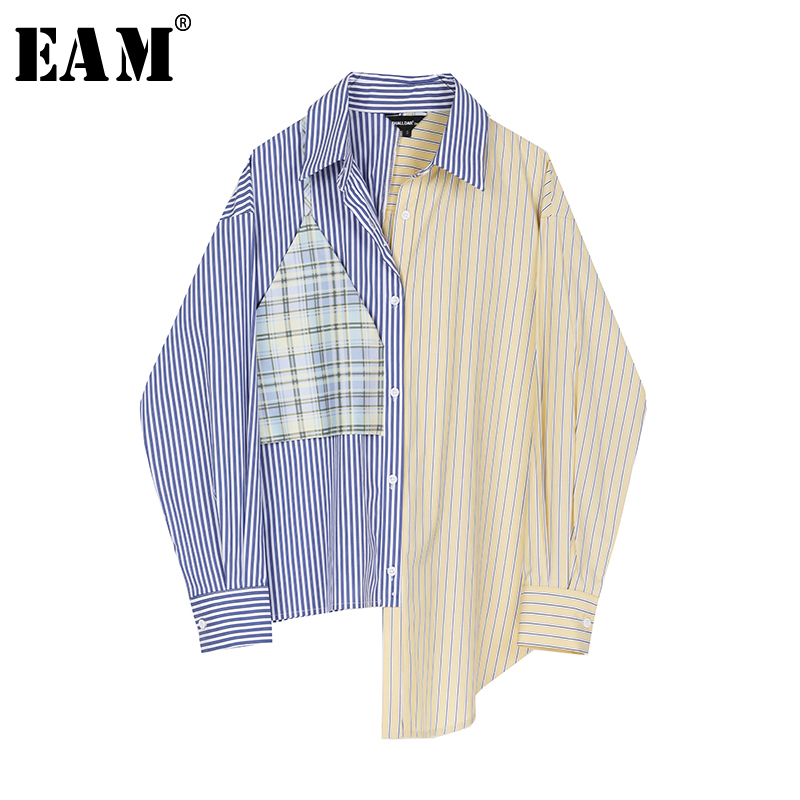 [EAM] Women Blue Striped Stitch Big Size Blouse New Lapel Long Sleeve Loose Fit Shirt Fashion Tide Spring Autumn 2020 1S376