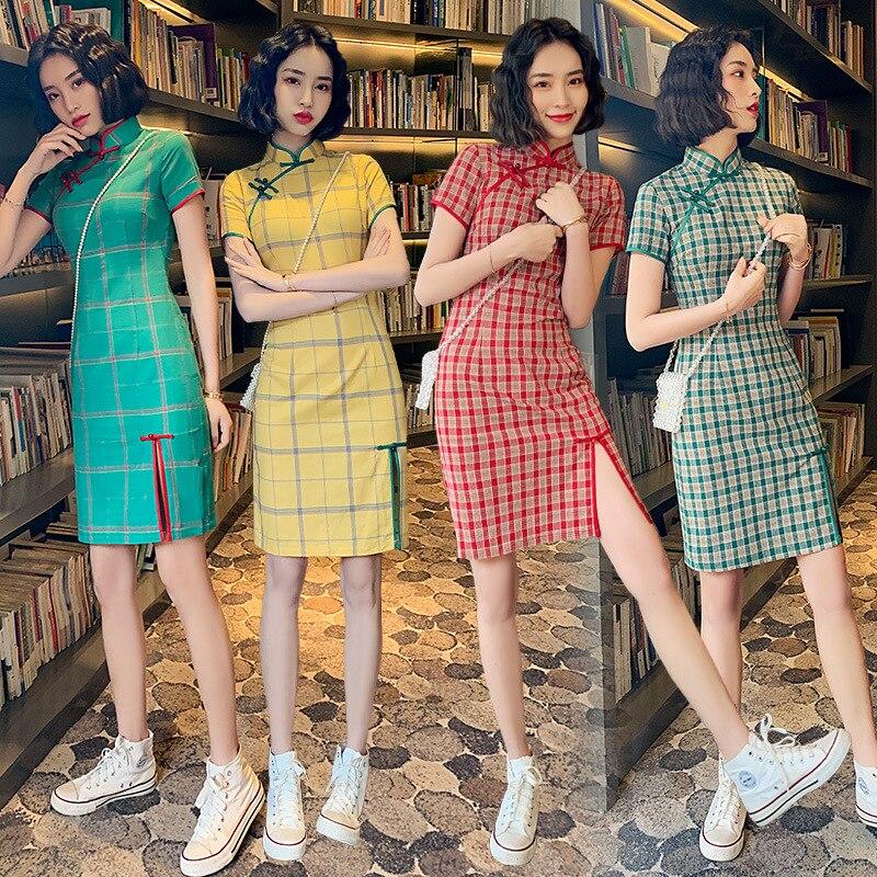 Summer Stripe Vintage Patterns Cotton Qipao Girl Dress