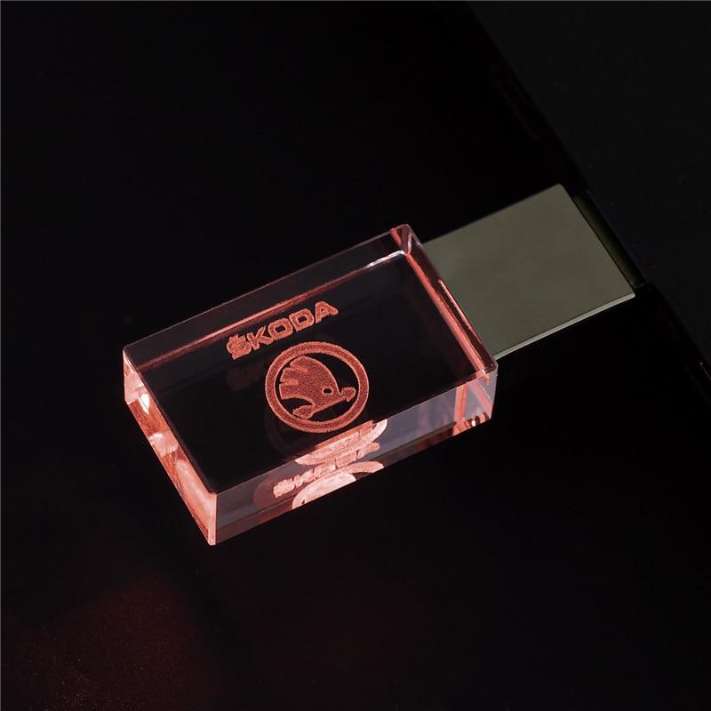 Skoda Kristal + Metalen Usb Flash Drive Pen Drive 4Gb 8Gb 16Gb Pendrive 32Gb 64Gb 128Gb Stick Memory Stick U Schijf 2