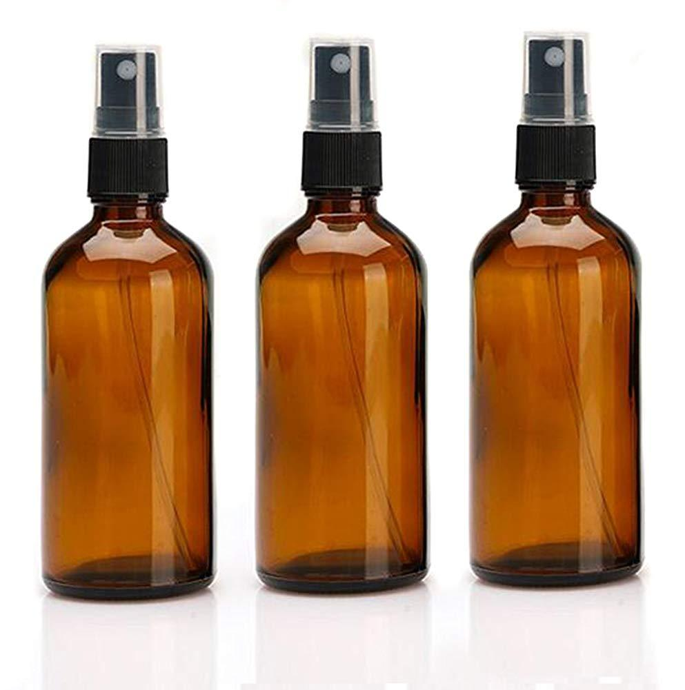 3pcs 100ml Refillable Empty Amber Glass Spray Bottle Atomizer Liquid Container Travel Makeup Sample  Essential Oil Containers